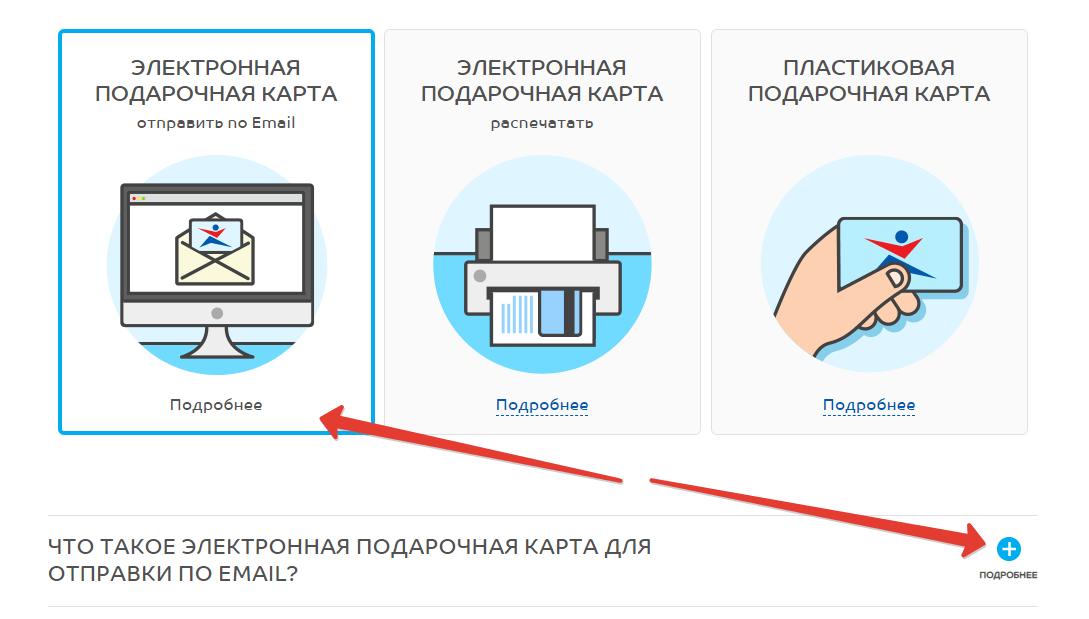 вкладка с электронным подарочным сертификатом Спортмастера